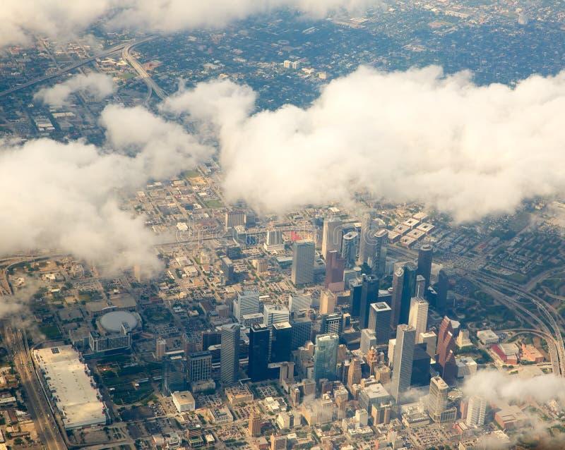 Houston Texas-Stadtbildansicht von der Vogelperspektive lizenzfreie stockfotos