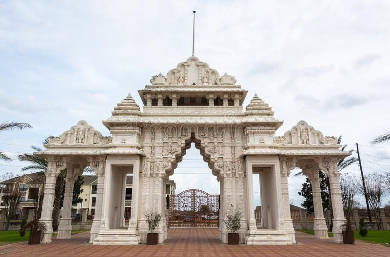 Marble gate of Hindu temple BAPS Shri Swaminarayan Mandir in Houston, TX. Houston, Texas, United States of America - January 16, 2017. Marble gate of Hindu royalty free stock images