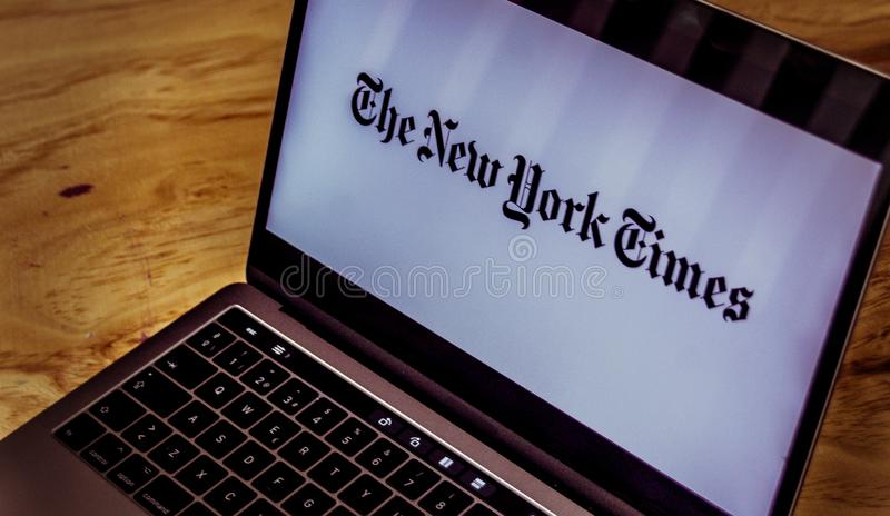 The New York Times logo on laptop screen royalty free stock photo
