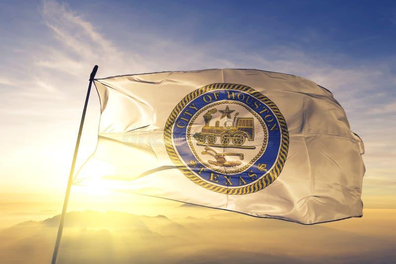 Houston of Texas of United States flag waving on the top. Houston of Texas of United States flag waving stock photo