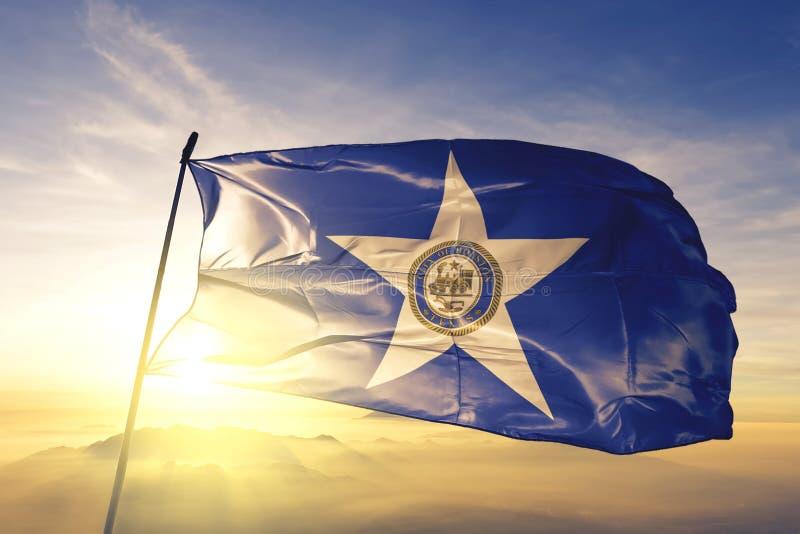 Houston of Texas of United States flag waving on the top. Houston of Texas of United States flag waving royalty free stock images
