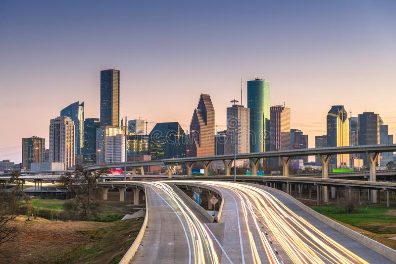 Houston, Texas, USA downtown city skyline and highway. At dusk royalty free stock photo