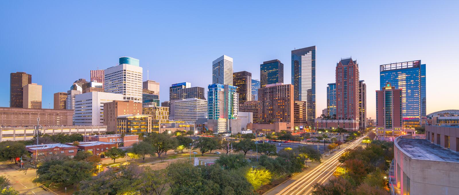 Houston, Texas, USA downtown park and skyline. At twilight royalty free stock photos