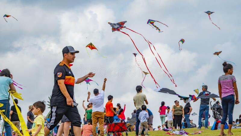 Houston, Texas, USA März, 24., 2019 Drachen-Festival lizenzfreies stockbild