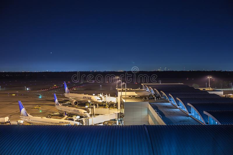 HOUSTON, TX - JANUARY 14, 2018 - Aircrafts from United Airlines docked at terminal E at George Bush Intercontinental Airport at n stock images