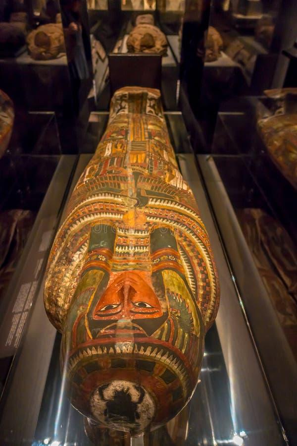HOUSTON USA - JANUARI 12, 2017: Härlig sarkofag av den forntida Egypten i nationellt museum av naturvetenskap in royaltyfri bild