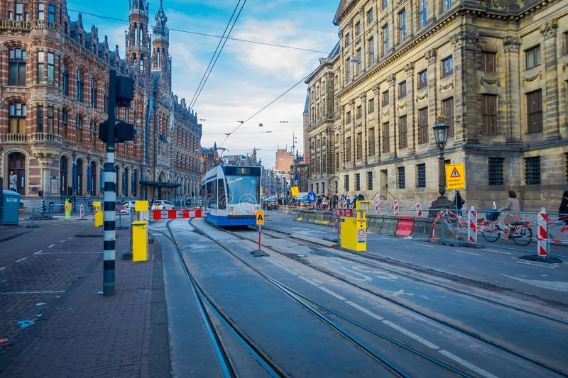 HOUSTON, USA- MARCH 10, 2018: Gorgeous outdoor view of Amsterdam Tram is a tram network it has been operated by royalty free stock photography