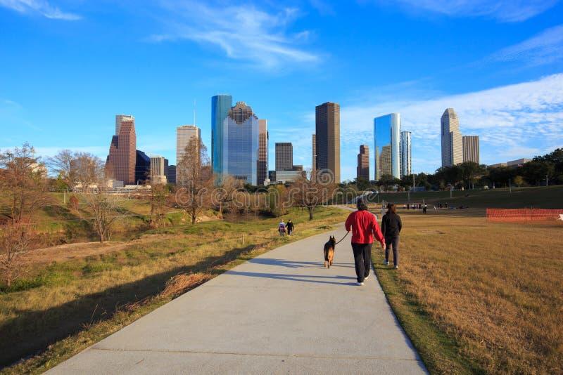 HOUSTON USA på 18 JANUARI 2016: Houston Texas Skyline med funktionsläge royaltyfri foto