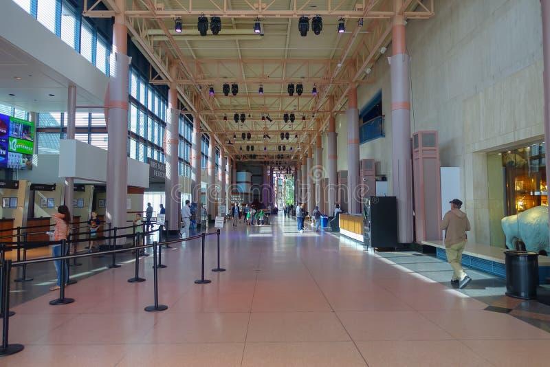 HOUSTON, usa - STYCZEŃ 12, 2017: Niezidentyfikowani ludzie chodzi w sala przy muzeum narodowym Naturalna nauka wewnątrz zdjęcie royalty free