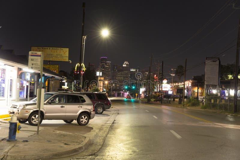 Houston van een buurt bij nacht stock foto