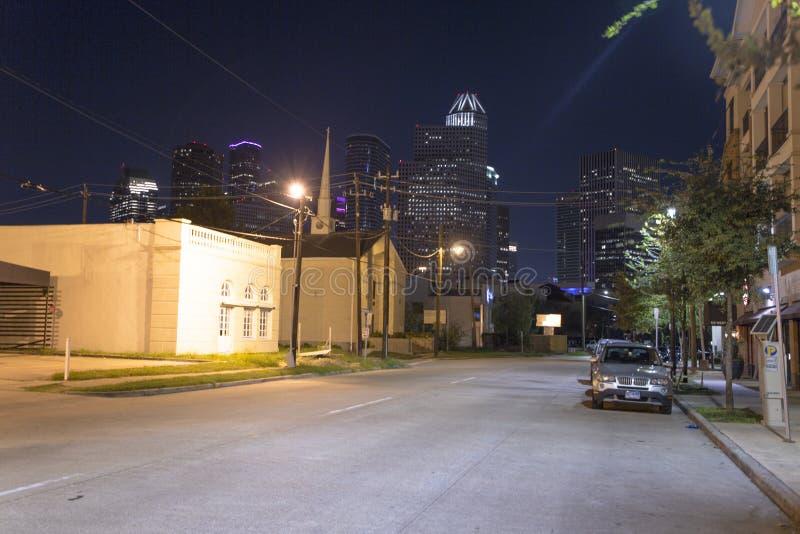 Houston van uit het stadscentrum bij nacht stock fotografie