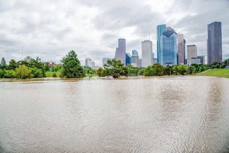 Houston W centrum powódź zdjęcia royalty free