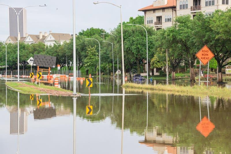 Houston W centrum powódź zdjęcie stock