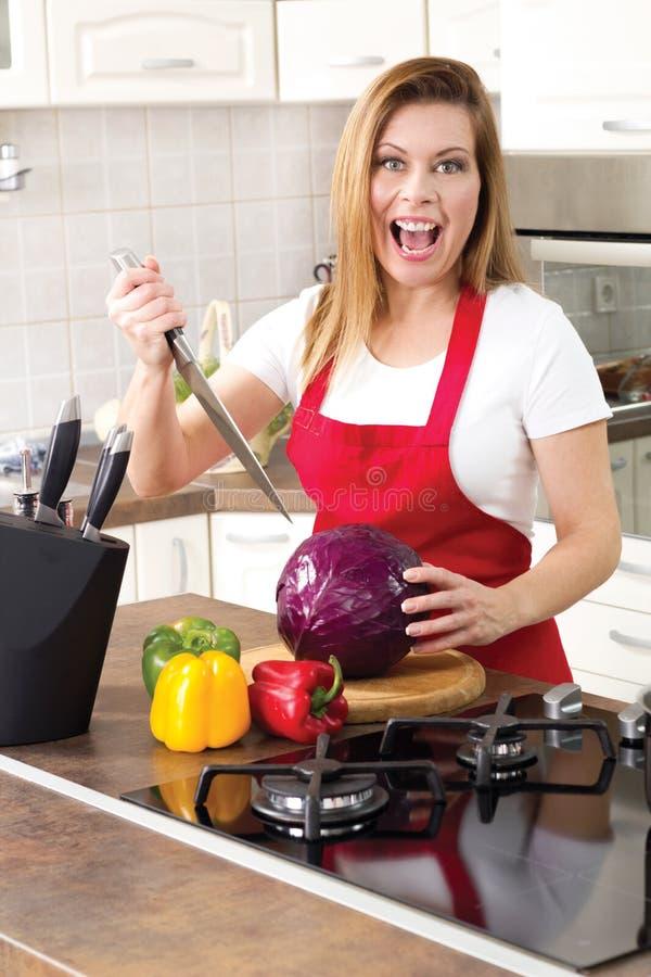 Houswife divertente sorridente a casa fotografia stock libera da diritti