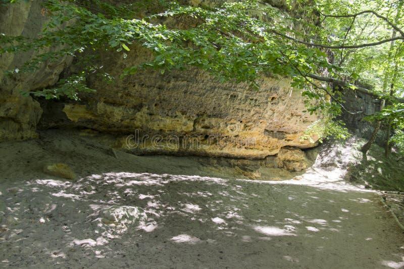 Hout en rotslandschap in Boheems Zwitserland, het rotsachtige ravijn van Kammintz George, het Saksische Nationale Park van Zwitse royalty-vrije stock foto's