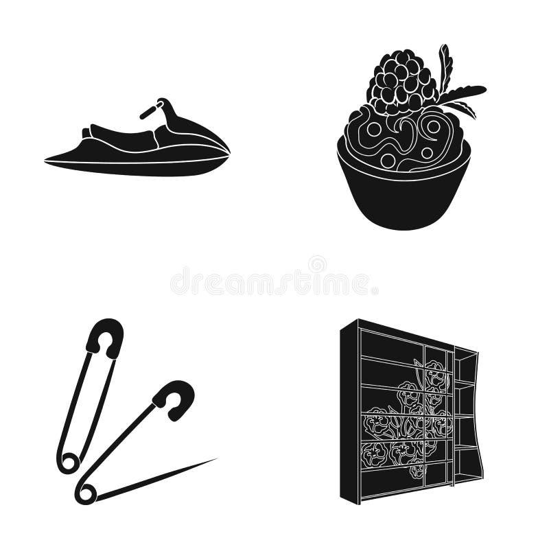 Hout, glas, ontwerp en ander Webpictogram in zwarte stijl , kast, decoratie, plankenpictogrammen in vastgestelde inzameling stock illustratie