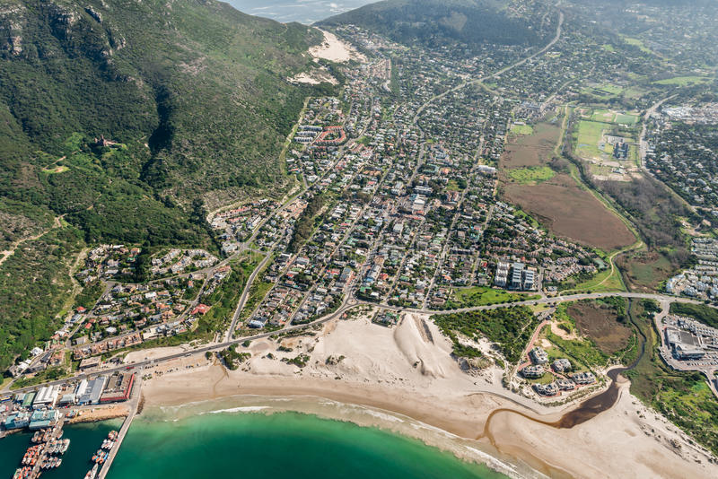 Hout zatoka Kapsztad, Południowa Afryka widok z lotu ptaka zdjęcie stock