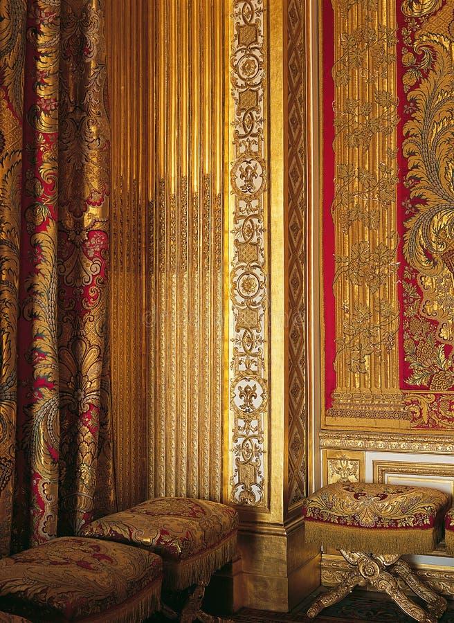 Houtbewerking en zijde bij het Paleis Frankrijk van Versailles royalty-vrije stock afbeelding