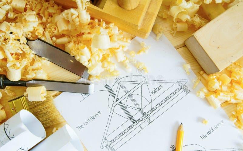 houtbewerking Tekeningen voor de bouw en het werken royalty-vrije stock afbeelding