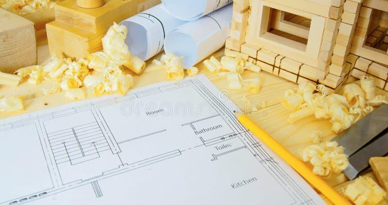 houtbewerking Tekeningen voor de bouw, plattelandshuisje stock fotografie