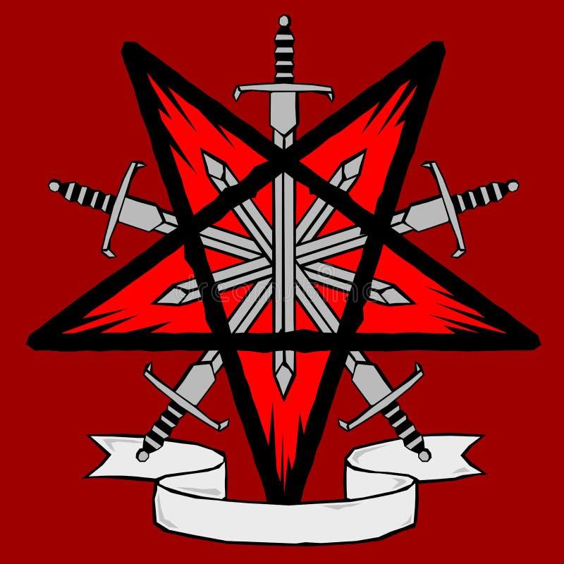 Houtdruk pentagram met zwaarden royalty-vrije illustratie