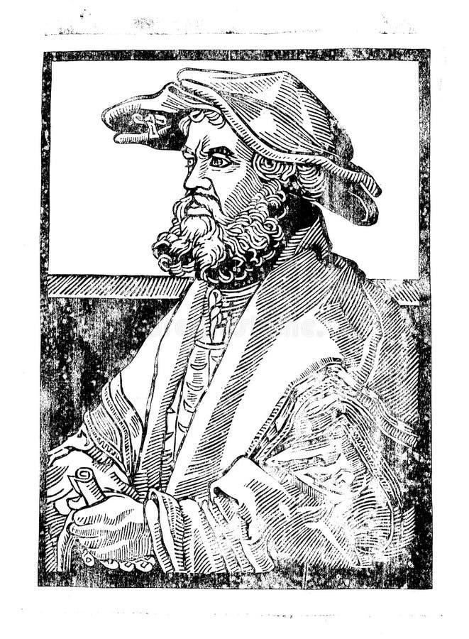 houtdruk Portret van een mens in een hoed Middeleeuwse grafiek Grafische arts. Hoge druk Oude gravure artefact Uitstekende grafie stock illustratie