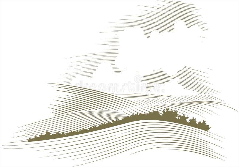 Houtdruk Skyscape royalty-vrije illustratie