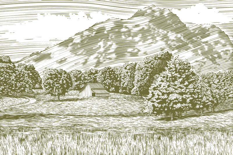 Houtdrukschuur en Berglandschap royalty-vrije illustratie