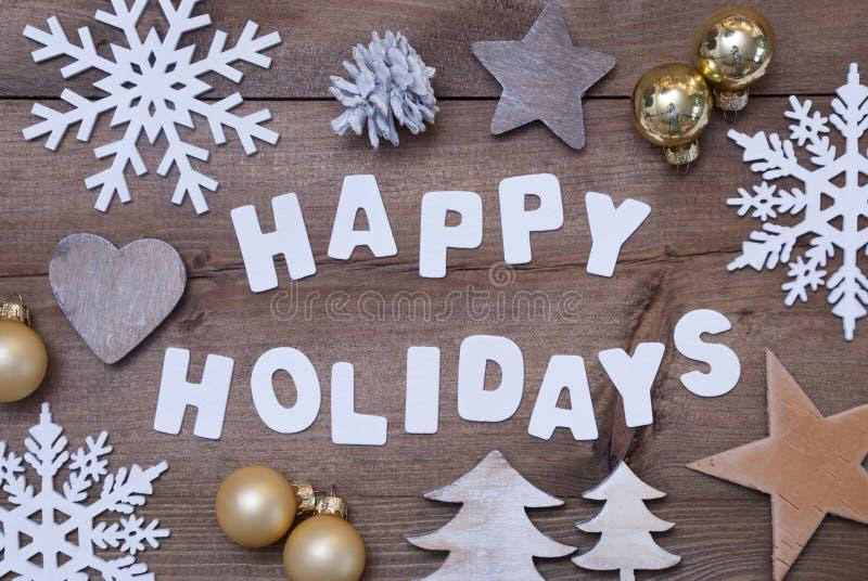 Houten Achtergrond, Gelukkige Vakantie, Gouden Kerstmisdecoratie stock afbeeldingen