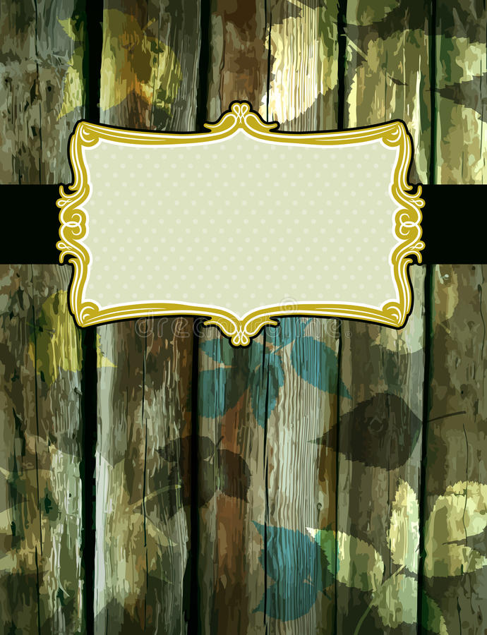 Houten achtergrond met decoratieve etiketten, vector stock illustratie