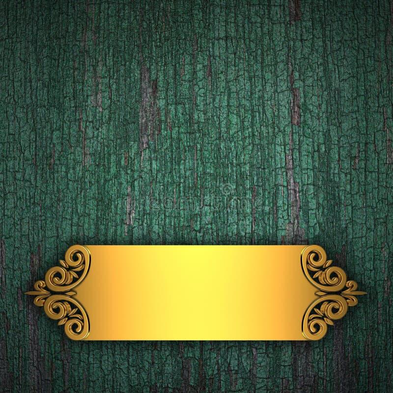 Houten Achtergrond met Gouden Band royalty-vrije illustratie