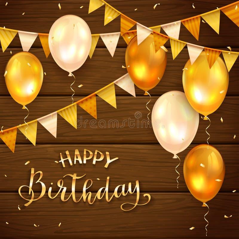 Houten Achtergrond met Gouden Verjaardagsballons en Wimpels vector illustratie