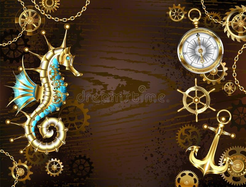 Houten achtergrond met mechanische seahorse vector illustratie