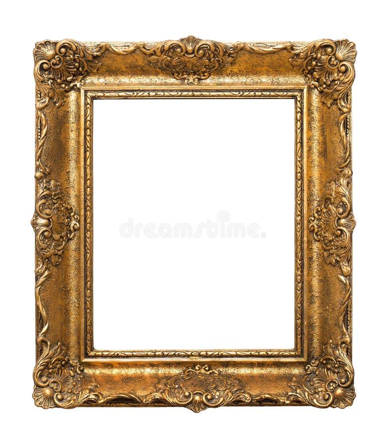 Houten antiek die kader voor schilderijen op witte achtergrond wordt geïsoleerd stock foto