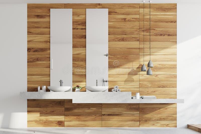 Houten badkamers, gootstenen en lampen stock illustratie