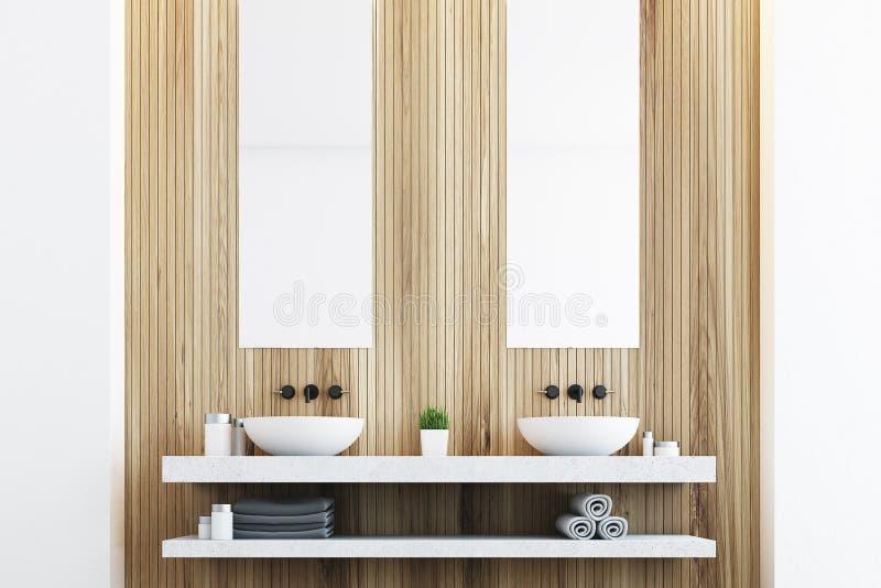 Houten badkamers met twee gootstenen vector illustratie