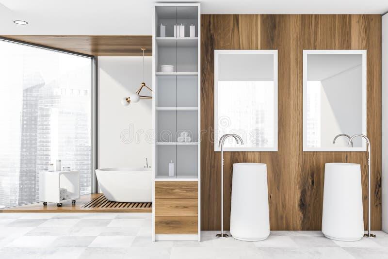 Houten badkamers met twee gootstenen en ton royalty-vrije illustratie