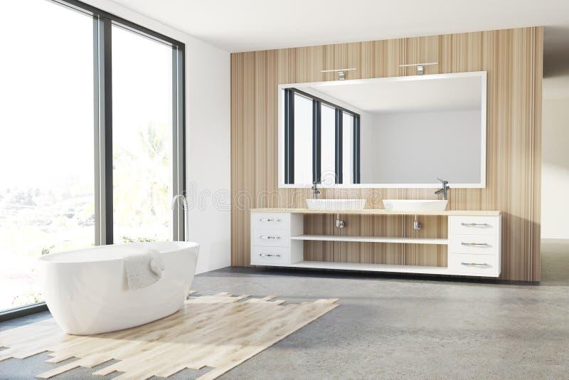 Houten badkamers, witte ton, gootsteen, zolder stock illustratie
