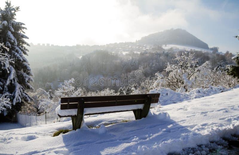 Houten bank bij de winter met brede panorama's royalty-vrije stock fotografie