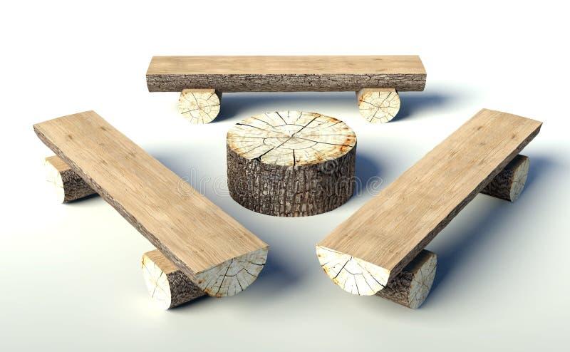 Houten bank en lijst die van boomboomstammen wordt gemaakt stock illustratie