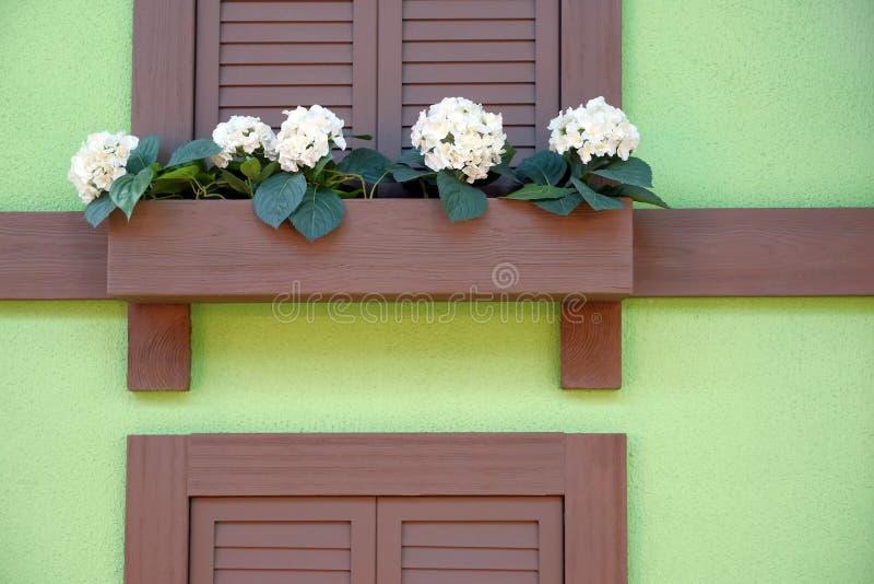 Houten bank voor rust onder het venster Bloemen door het venster stock afbeelding