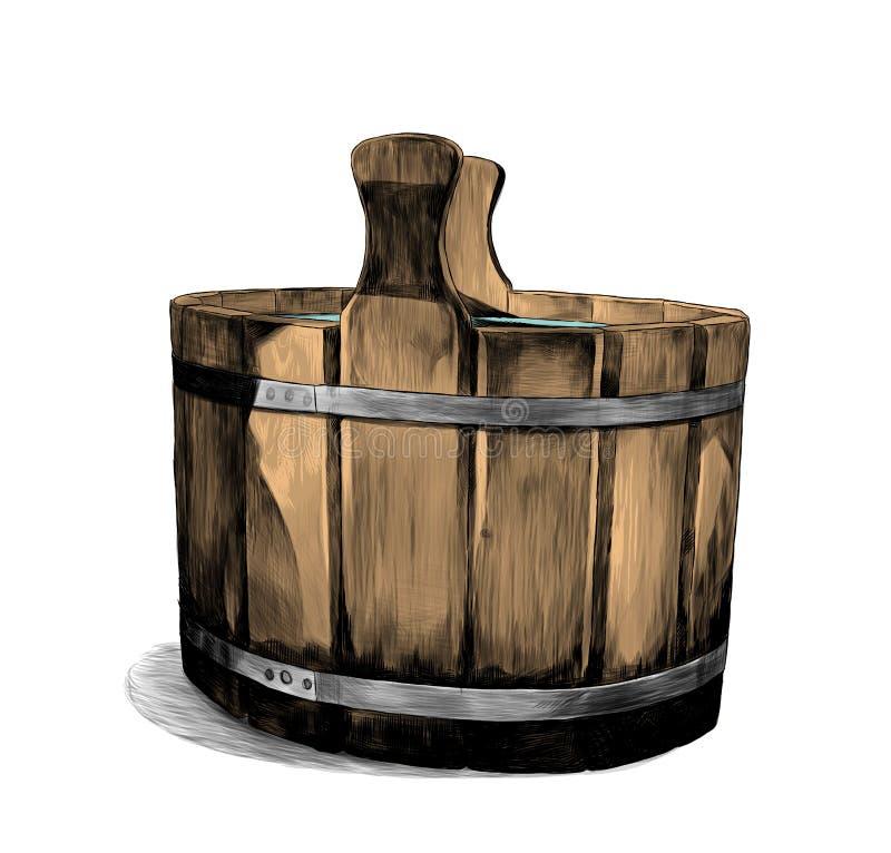 Houten bassin voor bad vector illustratie