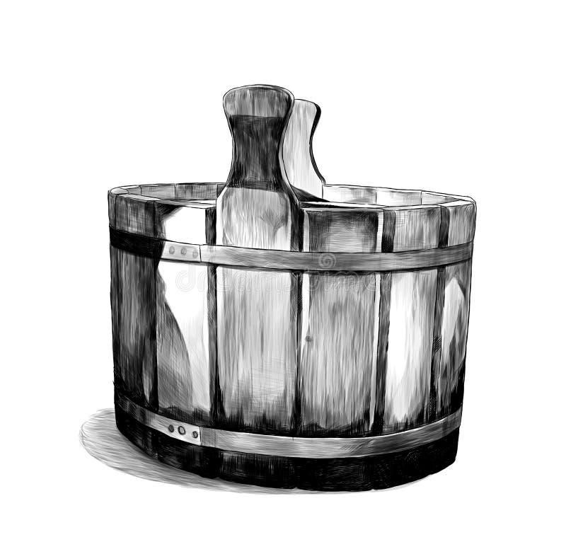 Houten bassin voor bad royalty-vrije illustratie