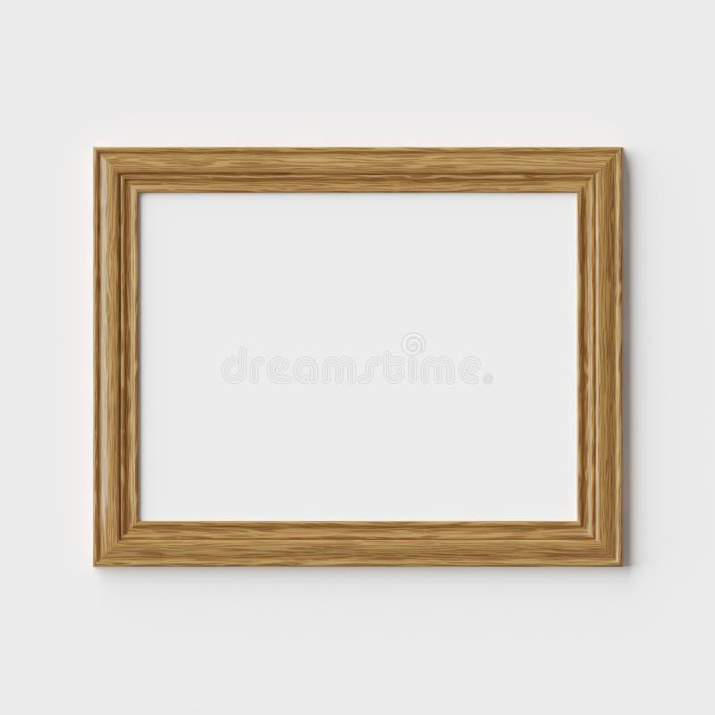 Houten beeld of fotokader op witte muur met schaduwen stock illustratie