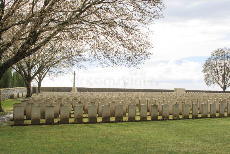 Houten Begraafplaats grote wereldoorlog één Vlaanderen België stock afbeeldingen