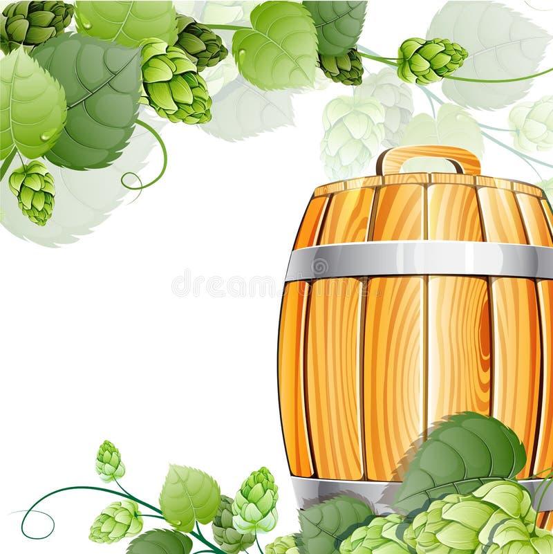 Houten biervat en hop op wit royalty-vrije illustratie