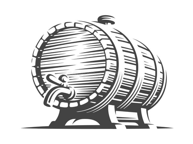 Houten biervat - vectorillustratie, ontwerp royalty-vrije illustratie