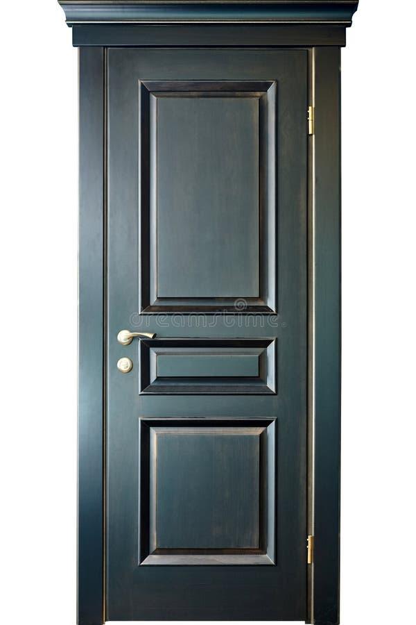 Houten binnenlandse zwarte en gouden deur van ebbehout met messingsmetaal stock fotografie