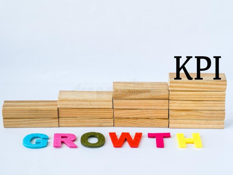 Houten blok zoals een tredegeval met KPI en de Groeiwoorden stock afbeeldingen