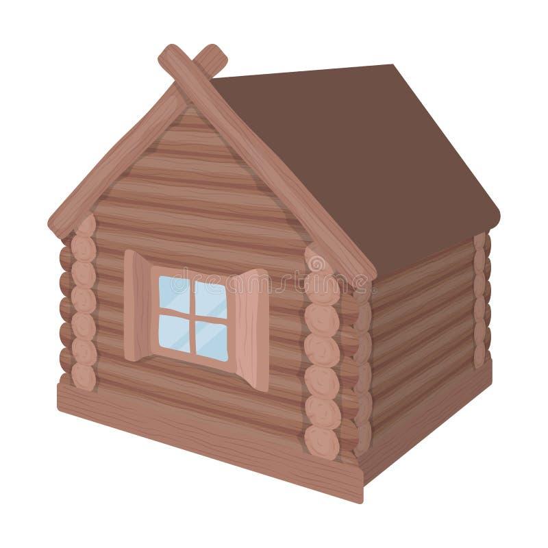 Houten blokhuis Enige pictogram van de hut het architecturale structuur in van de het symboolvoorraad van de beeldverhaalstijl ve stock illustratie